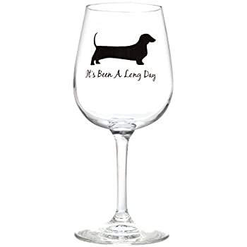 It's Been a Long Day Wine Glass for red or white wine fun glassware with dachshund dog birthday gifts for women mom sister friend teacher or special occasion present. Holds 13 ounces of wine.