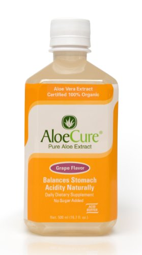 AloeCure Pure Aloe Vera Juice for Bouts of Acid Reflux, Heartburn, and IBS Grape, 18 Bottles by AloeCure