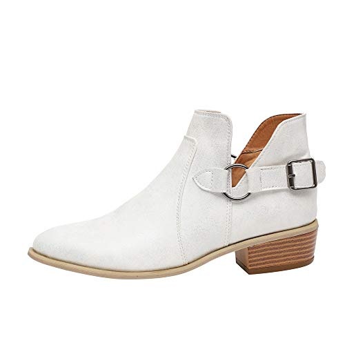 LONGDAY ⭐ Ankle Boots Pointed Toe Faux Leather Stacked Low Heel Slip On Booties Highline Chelsea Boot PU Chukka Boot White ()