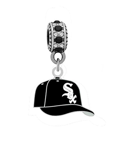 Chicago White Sox Ball Cap Charm with Connector Bead Fits Most Large Hole Bead Bracelets like Pandora, Brighton, Kays, Chamilia, Biagi, Troll