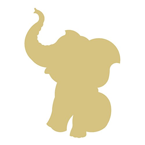 (Elephant Cutout Unfinished Wood Pachyderm Circus Animal Peanuts Trunk Zoo MDF Shape Canvas Style 3)