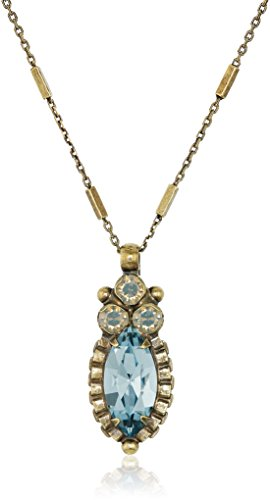 Sorrelli Navette and Round Crystal Pendant Necklace, Crystal Mist