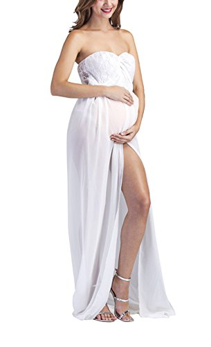 Maternity Costumes - Yomoko Maternity Lace Gown Split Front Maxi Photography Dress for Poto Shoot Party Dress (Medium, White (Lace Chiffon))