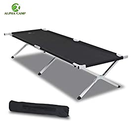 ALPHA CAMP Oversized Camping Cot Support 500 LBS Aluminum Sleeping Bed Portable for Outdoor & Indoor