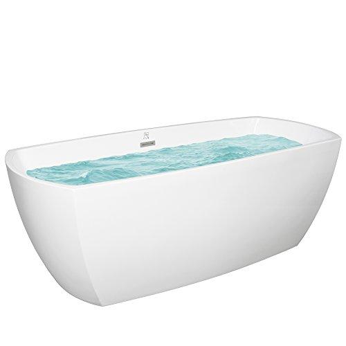 "AKDY 69"" Acrylic White Finish Oval Freestanding SPA Bathtub w/"