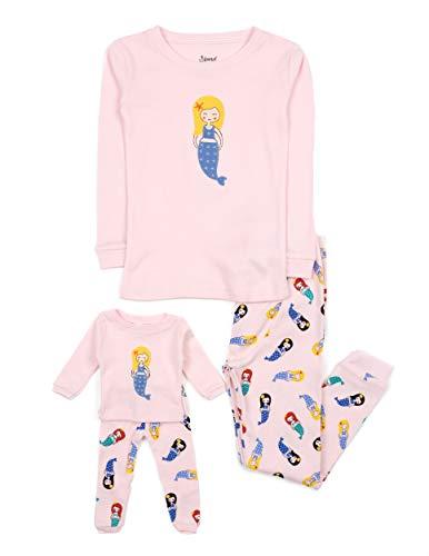 2 Piece Doll & Kid Pajama Mermaid 8 Years, Pink