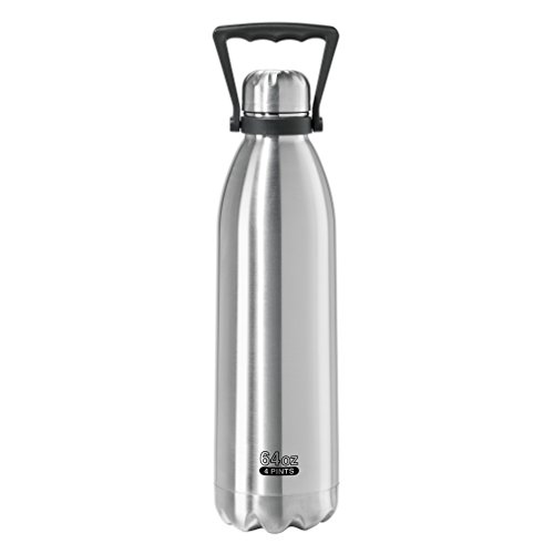 Oggi 8087 Double walled Stainless Steel Beverage Carrier/Beer Growler, 64 oz, Brushed Finish