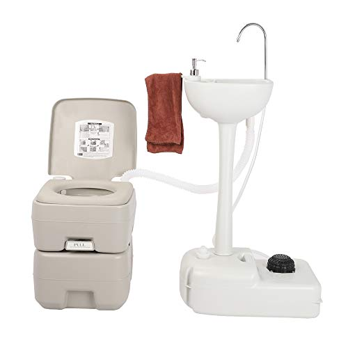 Environmental Protection Recycled Upgraded Portable Sink and Toilet Combo| Self-contained 5 Gal Hand Washing Station & 5.3 Gal Flushing Toilet