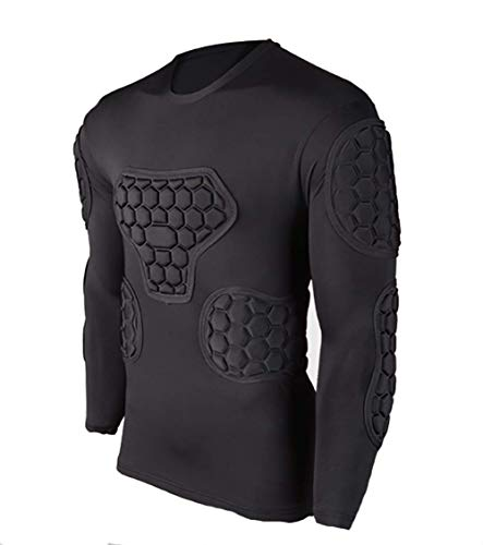 Men's Long Sleeve Goalkeeper Padded Shirt Football Protective Gear Set Training Suit for Soccer Rugby Basketball Paintball Rib Protector Shirt (Football Long Shirt Padded Sleeve)