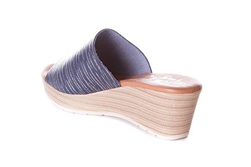 Plantilla Sandals Sandalia Piel Zueco De Cuña My Gel Azul Oh 3888 Con Mujer vwRan