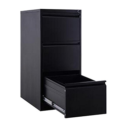 FLYHIGH Lateral Drawer Filing Cabinet 3 Drawers in Black Color