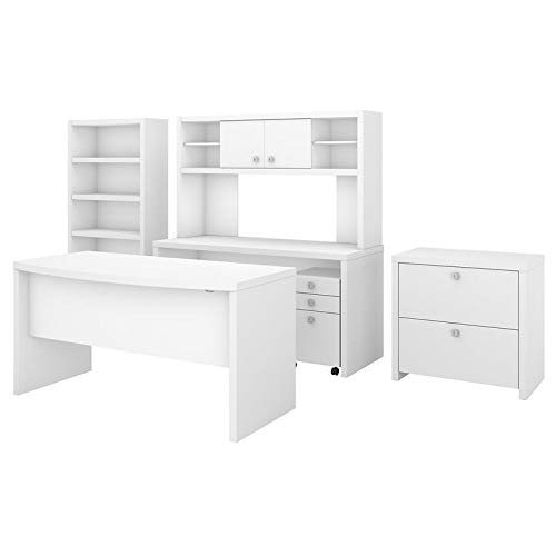 Office by kathy ireland Echo Bow Front Desk, Credenza with Hutch, Bookcase and File Cabinets in Pure White by Office by kathy ireland