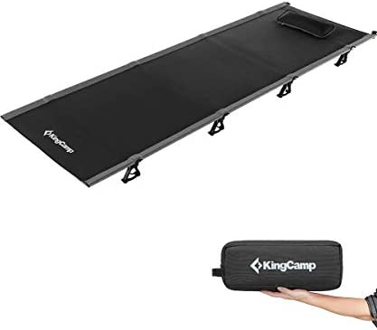 KingCamp Ultralight Compact Camping Cots Folding Tent Cot Bed with Pillow, Off Ground Bed, 4.9 Pounds