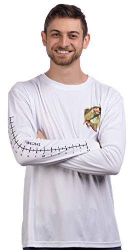 Fishing Ruler | Long Sleeve Wicking Fisherman Shirt w/Ruler on Forearm Unisex T-Shirt-(Adult,XL) White