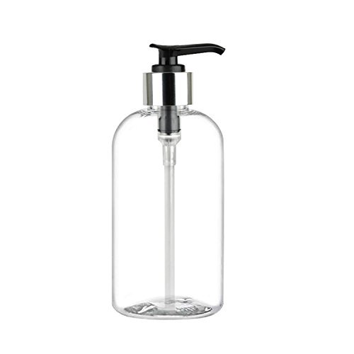 MoYo Natural Labs 8 oz Pump Dispenser, Boston Round Empty Soap Lotion Pump Bottles with Silver Tone Locking Cap, BPA Free PET Plastic Containers for Essential Oils/Liquids (Pack of 1, Clear)