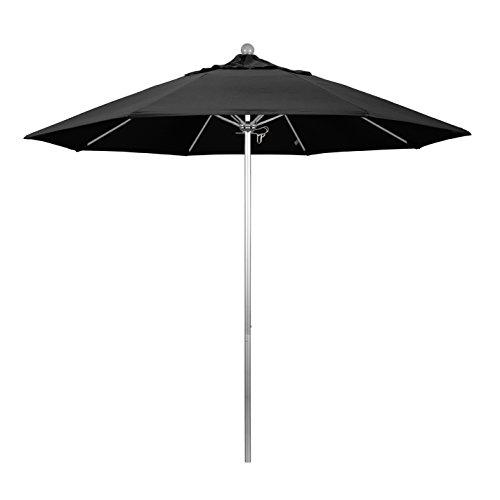 California Umbrella 9 Round Aluminum Fiberglass Umbrella, Push Open, Silver Pole, Olefin Black Fabric