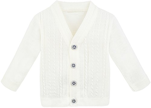 Lilax Baby Boy Cable-Knit Basic Knit Cardigan Sweater 9-12 Months Cream