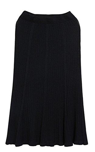 OMUUTR t et Automne Nouvelle Jupe Plisse Jupe lastique Tricote Femmes Jupe Plisse Haute Taille Polyvalente Mince-Convient pour Toutes Sortes de Taille/Blanc/Noir Noir