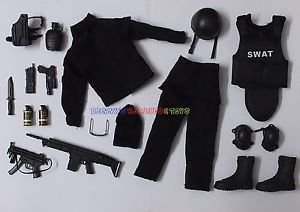 1 x New Set of 1/6 SWAT Police Uniform Guns & Accessories For 12″ Action Figures