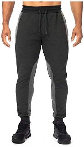 男性ミッドライズポケットカラーブロックドローストリングストレッチフィットネスジョギングパンツ