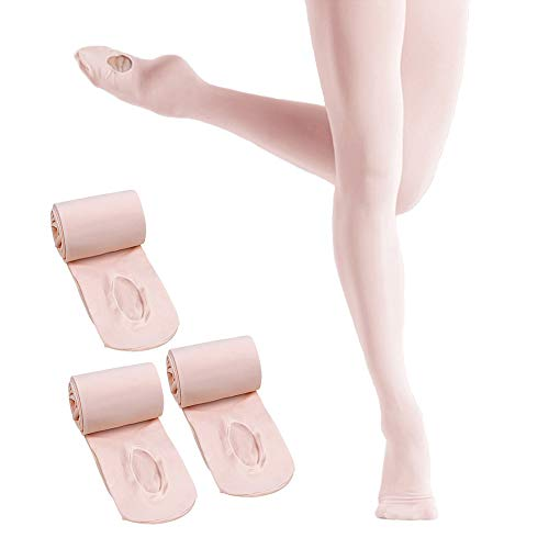 Ballet Tights for Girls,Dance Convertible Ballet Tights,Ultra Soft Ballet Ballet Footed Tights With Holes (A-Pink 3 Pairs, Medium)
