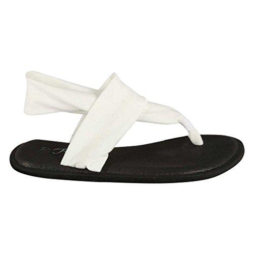Coshare Kvinners Mote Diverse Yoga Fatle Flip Flop Flate Sandaler Hvit - Stoff Pu Flat