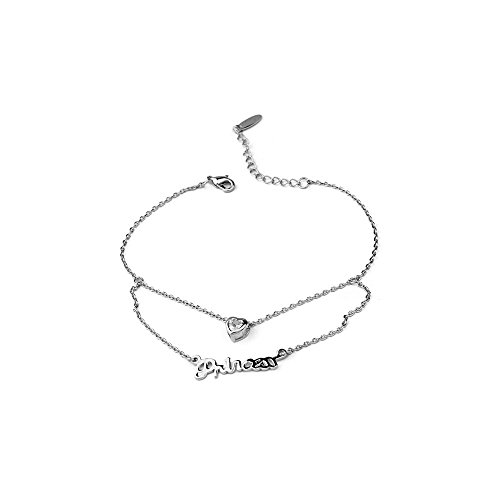 18k gold plated Letters peach heart anklet