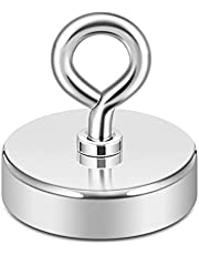 Neosmuk Fishing Magnet,1.75 Inches Holding Power Neodymium Rare Earth Magnet with Lifting Eye-Bolt Ideal for Retrieving Items in Lake,Beach,Lawn and New House.