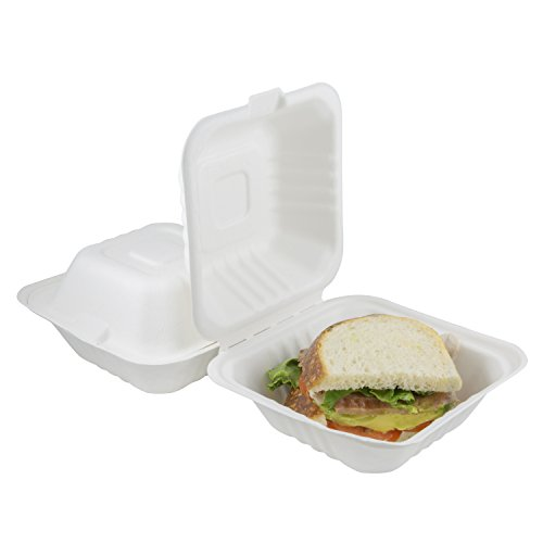Houseables Takeout Containers, to Go Box, Restaurant Take Out Food Container, 100 Pack, White, 6x6 Inch, 100% Disposable, Clamshell, Biodegradable Boxes, Microwavable Supplies, Eco Friendly