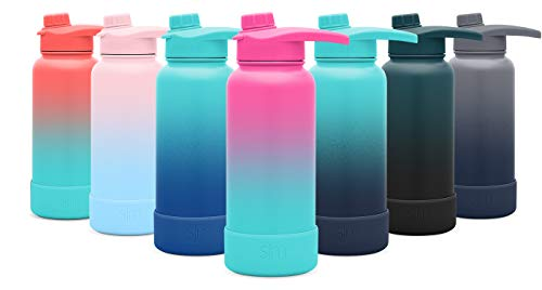 (Simple Modern 14oz Summit Water Bottle with Chug Lid & Protective Boot - Hydro Vacuum Insulated Flask 18/8 Stainless Steel Powder Coated Ombre: Sorbet)
