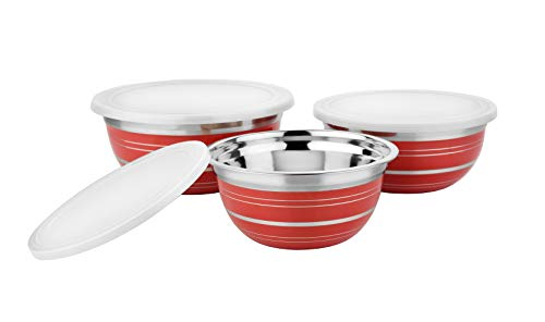 Prinox Stainless Steel Solid German Bowl Set   3 Pieces  3 Bowls and 3 Lids  Red Stripes