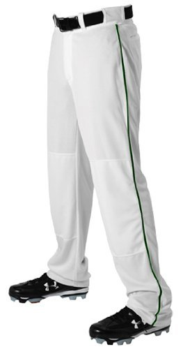 Alleson Ahtletic Boys Youth Baseball Pants with Braid, White/Dark Green, Small by Alleson Athletic