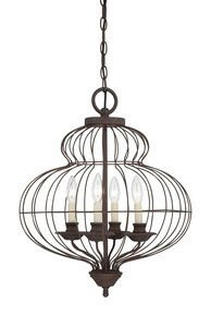 Quoizel LLA5204RA Laila 4-Light Foyer Piece, Rustic Antique Bronze Romance Collection Table Lamp