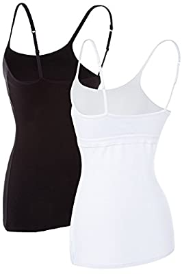 Maysoul Women Cotton Camisole Shelf Bra Tank Tops Spaghetti Active Camis 2 Pack