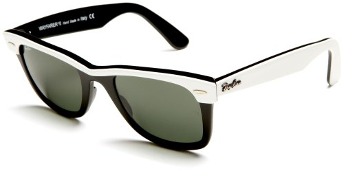 Ray-Ban WAYFARER II - TOP WHITE ON BLACK Frame CRYSTAL GREEN Lenses 50mm - Bans White Ray