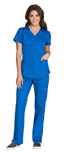 Cherokee Luxe Women's Mock Wrap Top CK603 & Women's Elastic Waist Pull-On Pant CK003 Scrub Set (Royal - Large/Large Tall) (Wrap Luxe Mock)