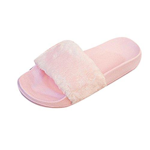 Sexy Donna Fluffy Rosa Morbido Peluche Faux Sandalo Pantofole Culater® Pelliccia vqEnwBpq