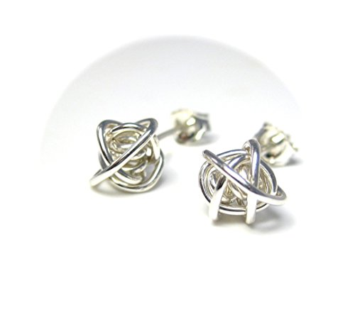 Twisted Knot Stud Earrings with Sterling Silver Wire