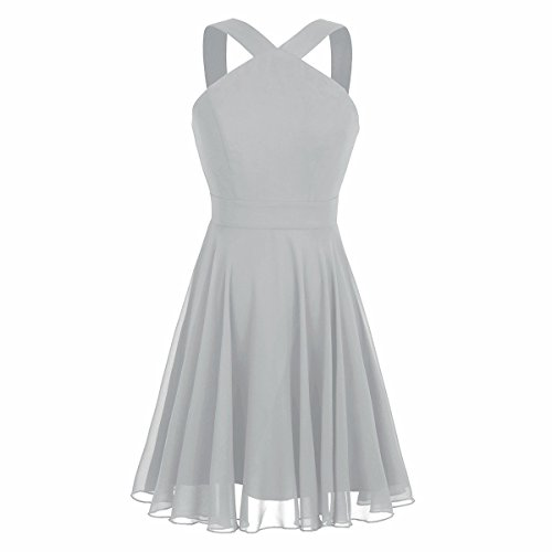 n Criss-Cross Straps Evening Party Prom Gown Bridesmaid Short Dress Gray US Size 6 ()