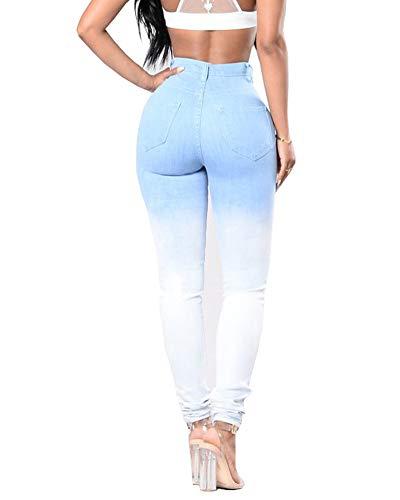 Pantalons Pantalon Haute Dgrad Jeggings Bleu Fit Jeans Clair Slim Skinny Denim Taille Femmes Dchir dvxYwqaaI