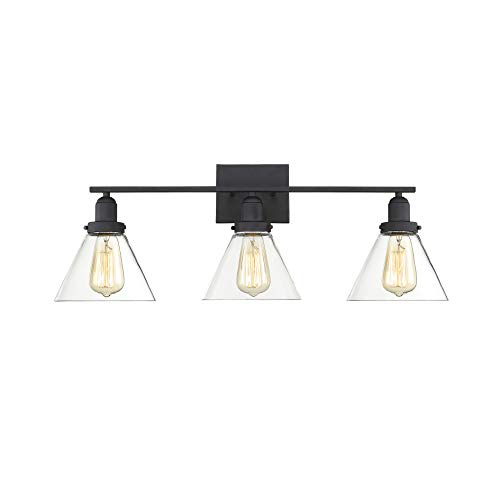 Savoy House 8-9130-3-BK Drake 3-Light Bathroom Vanity Light in a Black Finish with Clear Glass (29