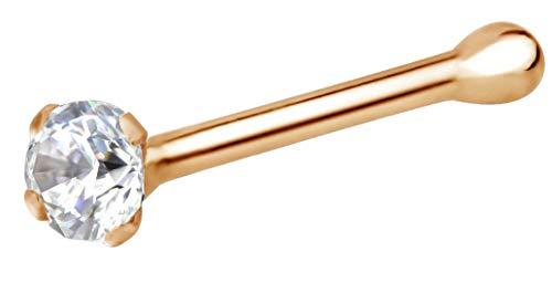 Forbidden Body Jewelry 22g Rose Gold CZ Simulated Diamond Micro Nose Stud, 1.25mm CZ Single