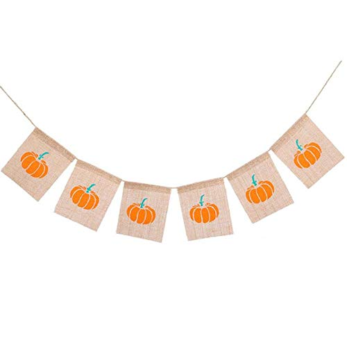 Streamers Confetti - Thanksgiving Day Happy Fall Halloween Harvest Yellow Linen Pumpkin Burlap Banner Garland Bunting - Designs Burlap House Garland Spring Garlands Party Christmas Banners Rainfo