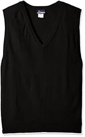 Classroom Men's Plus Size Adult Unisex V-Neck Sweater Vest, Black, 2XL
