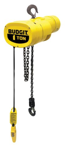 Budgit Hoist Manguard BEHC0108 Electric Chain Hoist, Three Phase, Hook Mount, 1 Ton Capacity, 18' Lift, 8 fpm Max Lift Speed, 0.5 HP, 17-1/2
