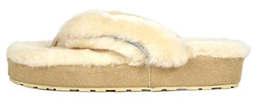 Mules Fluffy Spa Natural Fur 01 PAIRS Slippers Women's DREAM Sheepskin Comfy 7UYan1