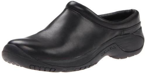 Merrell Men's Encore Gust Slip-On Shoe,Smooth Black Leather,8.5 M - Black Smooth Clog