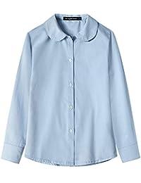 Spring&Gege Girls' Long Sleeve School Uniform Cotton Twill Blouse