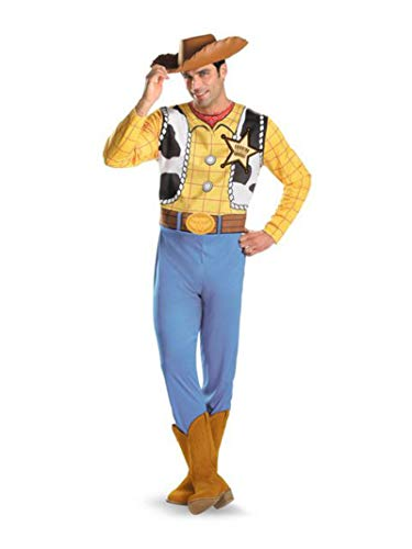 Woody Classic Costumes - Disguise Men's Disney Pixar Toy Story and Beyond Woody Classic Costume, Yellow/Black/White/Brown,
