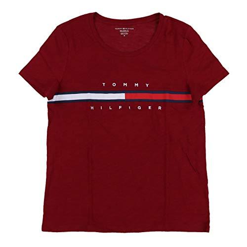 Tommy Hilfiger Womens Big Logo T-Shirt (L, Brick Red) (Top Tommy Hilfiger)